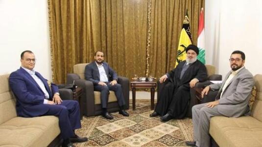 عبدالسلام وصهر عبدالملك الحوثي يرتمون في احضان «نصر الله» والسفارة اليمنية تعلق