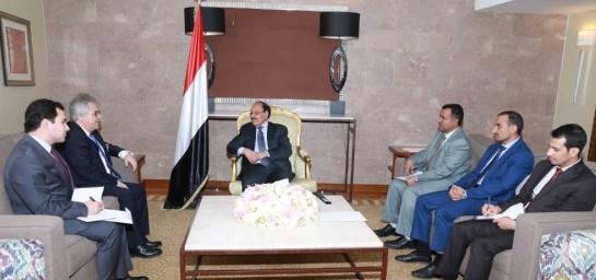 توجيهات خاصة من الرئيس هادي لكل الجهات المختصة في اليمن لتسهيل مهمة سفير بدأ اليوم مهامه من مكتب على محسن