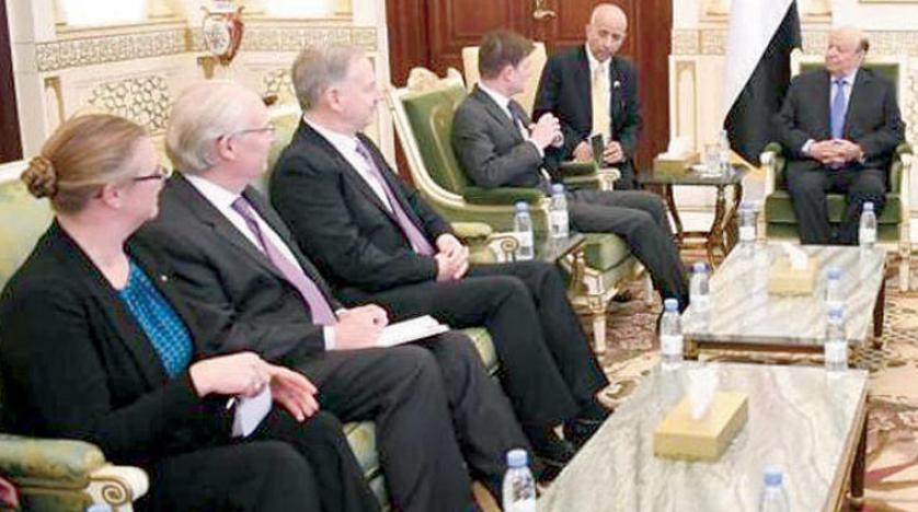 وفد أميركي يبحث مع الرئيس هادي تدخلات إيران